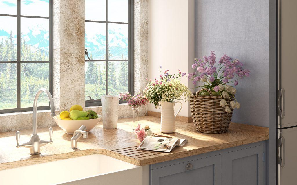 Κουζίνα με λουλούδια